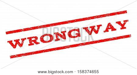 Wrong Way watermark stamp. Text caption between parallel lines with grunge design style. Rubber seal stamp with dust texture. Vector red color ink imprint on a white background.