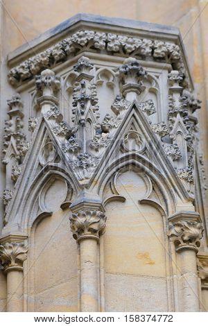 Prague, Czechia - November, 21, 2016: partial elevation of St. Vitus Cathedral in Prague Castle, Czechia