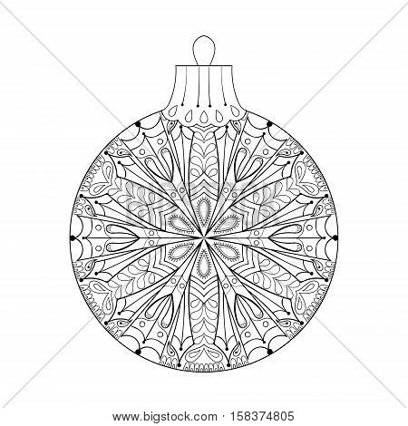 Vector vintage Christmas ball, New Year 2017 freehand decoration element. Artistic patterned illustration for adult coloring book pages. books, art therapy. Winter symbol Isolated on white