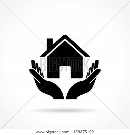 Illustration of house icon with hands concept