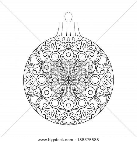 Vector vintage Christmas ball for tree, zentangle freehand decoration element. Winter isolated symbol. Artistic patterned illustration for adult coloring book pages. books, art therapy.