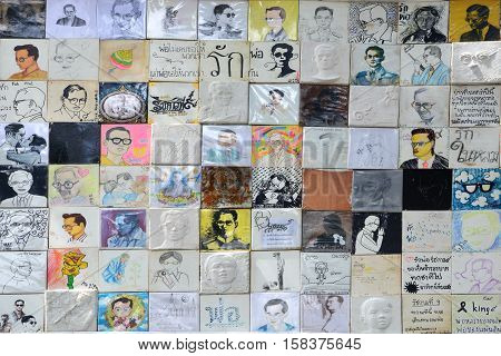 BANGKOK THAILAND - November 162016 : Thai art students painting of His Majesty King Bhumibol portrait to participate in the exhibition to honor The Lifetime Journey of the World's Development King