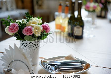 Flowers on a Banquet table serving holiday.