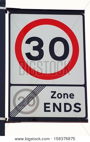 Speed Limit 30 Mph Sign on White Background