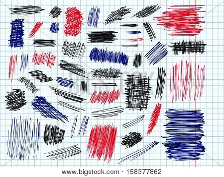 Scribbles Doodle Pencil Signs Set Curve Blue Red Black