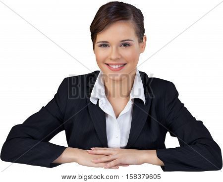 Smiling Busineswoman Sitting Behind the Desk - Isolated