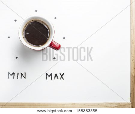 Top view of a cup of coffee in the form of volume control from minimum to maximum level