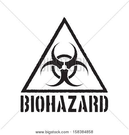 Grunge biohazard symbol. Biohazard warning sign isolated.