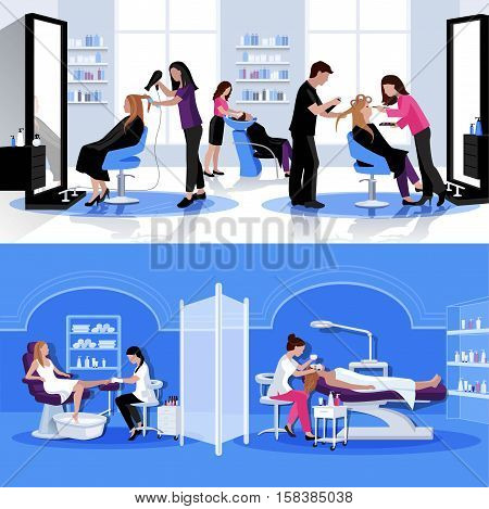 Beauty salon colorful composition with haircut styling pedicure cosmetology in flat style vector illustration