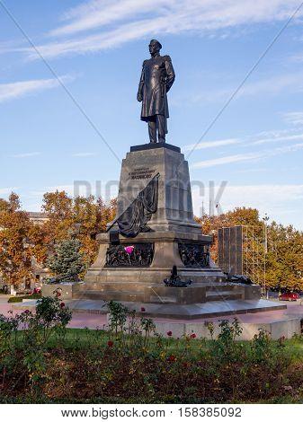 Sevastopol, Russia - November 14, 2015: A monument to Admiral Nakhimov in Sevastopol Crimea