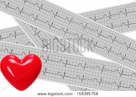 Heart stethoscope on cardiogram report of cardiology patient. Cardiologist and medical concept