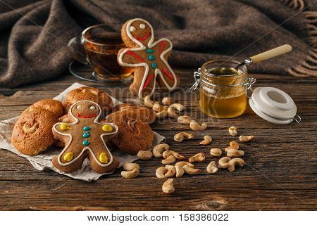 Christmas Sweets Baking Gingerbread Cookies On Plate. Decorated For Christmas Gingerbread Cookies, C