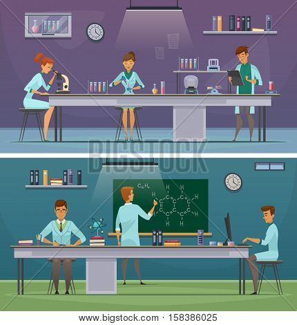 Scientists and laboratory assistants working in lab and office 2 horizontal retro cartoon banners isolated vector illustration