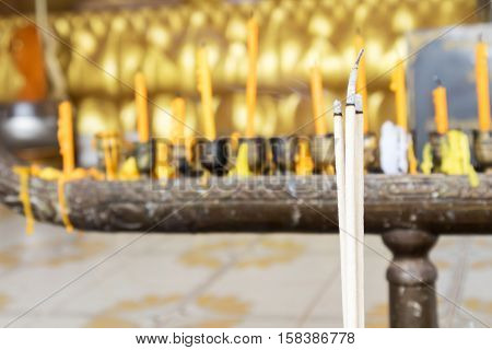 Incense sticks(joss sticks) burning in the temple