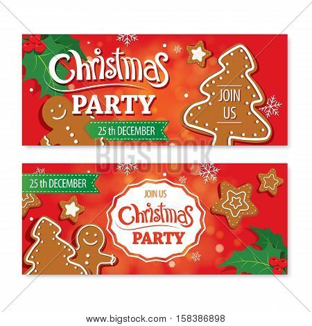 Invitation merry christmas banner and card design template.Homemade gingerbread cookie theme concept.