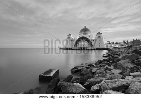 Malacca Straits Mosque (Masjid Selat Melaka) is a mosque located on Malacca Island near Malacca Town in Malacca state Malaysia.Scenery during sunset