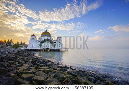 Dramatic sky & reflections at Straits Mosque Malacca. Nature composition