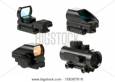different types of collimator sights on the isolated white background poster
