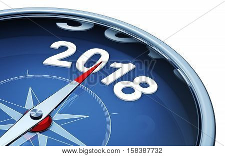 3D rendering of a compass with a 2018 icon