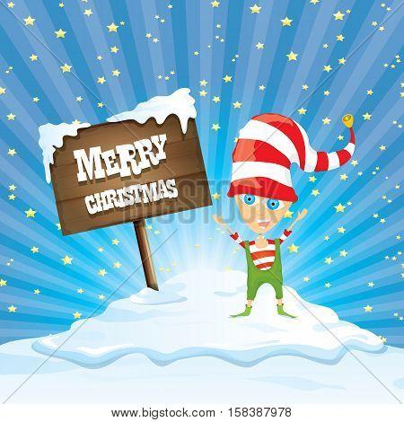 vector cartoon cute merry Christmas elf standing on winter snow landscape near wooden sign board with greeting text merry christmas and christmas lights behind. merry christmas vector illustration