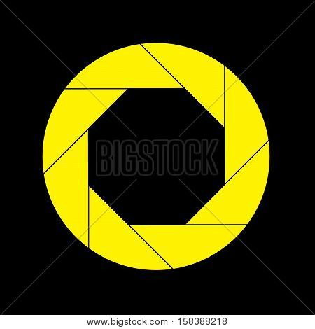 Yellow Shutter Vector Icon Isolated on Black