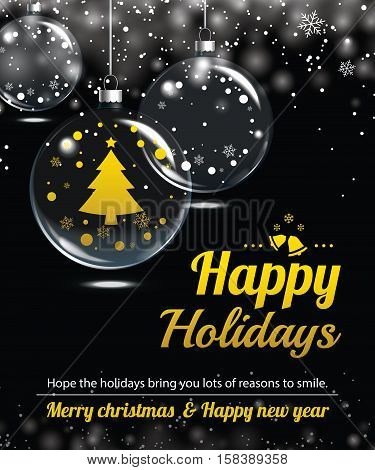 Happy holiday greeting banner and card design template. Merry christmas and New year theme concept.