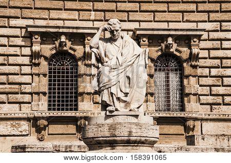 Architectural fragments of Palace of Justice Corte Suprema di Cassazione . Design by Perugia architect Guglielmo Calderini built between 1888 and 1910. Rome Italy.