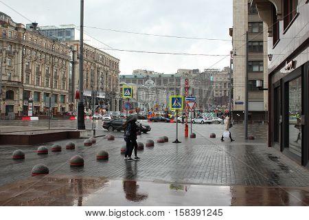 Russia, Moscow 22 May 2016, Repair work on Tverskaya Street