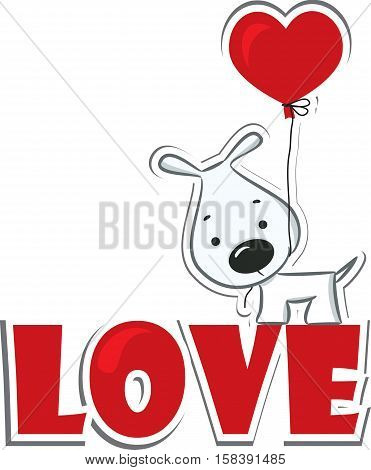 Dog with the heart on the red word