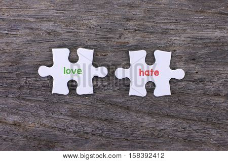 Puzzle with a love inside and hate