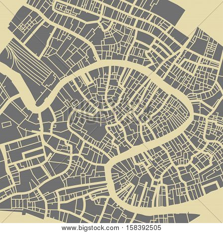 Venice vector map. Monochrome vintage design base for travel card advertising gift or poster.