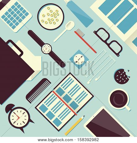 Good morning flat concept vector illustration. Top view of table. Phone clocks case papers toothbrush coffee cup cookie player headphones notebook pencil breakfast milk spoon newspaper.
