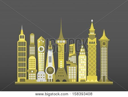 Modern city landscape vector illustration isolated on a dark grey background.