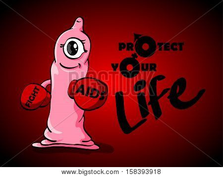 one eye pink boxing condom with word Aids Fight on a boxing glove and text Protect your life.