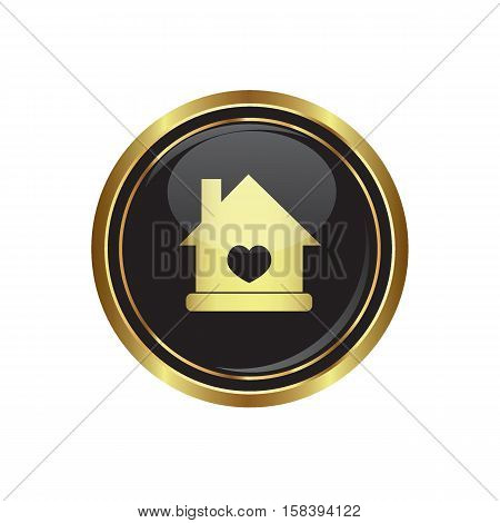 Home icon with heart icon on the button. Vector illustration