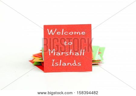 picture of a red note paper with text welcome to marshall islands