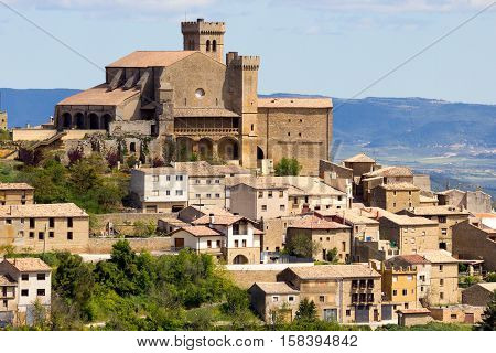View on the town Ujue (Uxue in Basque) and it's 12th century fortified church in Navarre Spain