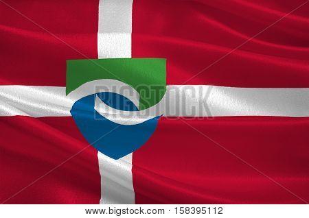 Flag of Hedensted in Central Jutland Region in Denmark. 3d illustration