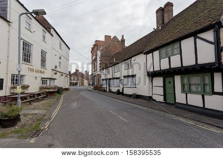 Winslow, Buckinghamshire, United Kingdom, October 25, 2016: Cottages And Pub The George Winslow On T