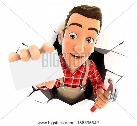 3d handyman coming out through a wall with company card illustration with isolated white background