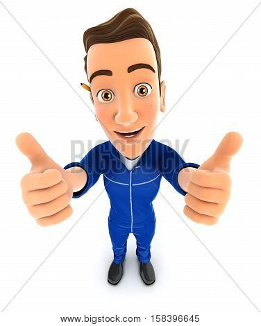 3d mechanic thumbs up illustration with isolated white background