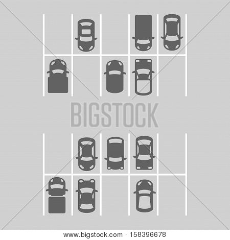 Top View Of Parking Lot. Vector illustration