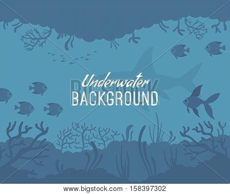 Underwater background, incredible species. Cartoon vector flat-style graphic template