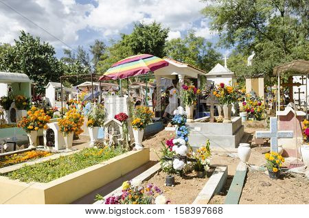 OAXACA, OAXACA, MEXICO - NOVEMBER 2, 2016: Graves decorated with flowers at the Oaxaca General Cemetery in Oaxaca City, Mexico.