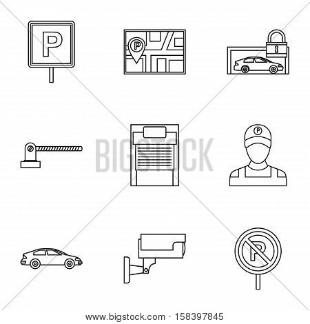 Parking area icons set. Outline illustration of 9 parking area vector icons for web