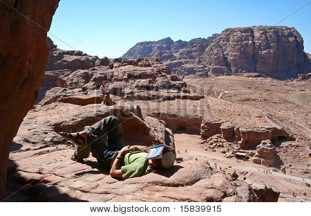 Tourist and Petra, Jordan