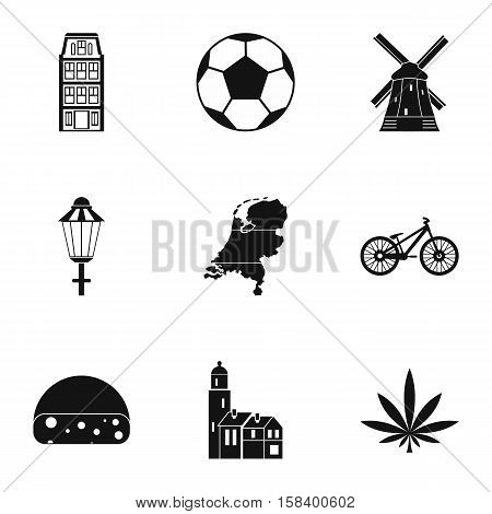 Holland icons set. Simple illustration of 9 Holland vector icons for web