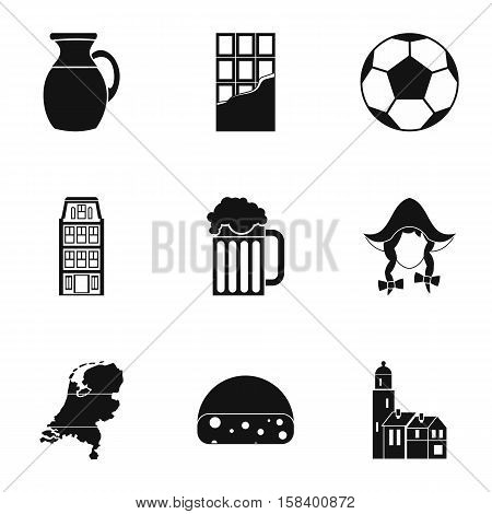 Attractions of Holland icons set. Simple illustration of 9 attractions of Holland vector icons for web