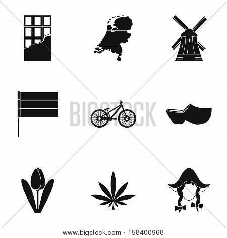 Tourism in Holland icons set. Simple illustration of 9 tourism in Holland vector icons for web