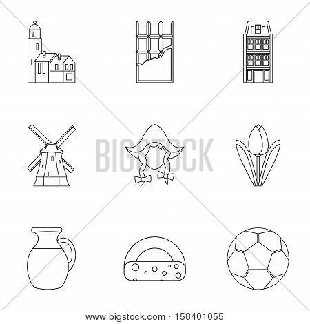 Holiday in Holland icons set. Outline illustration of 9 holiday in Holland vector icons for web